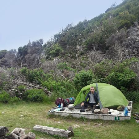 tent setup in fising cove site 8